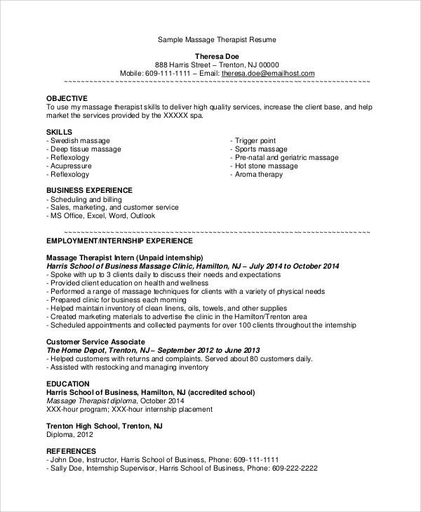 spa therapist resume remedial massage therapist resume best