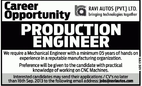 Engineer Job, Ravi Autos Pvt Ltd Job, Production Engineer 8 Sep 2013