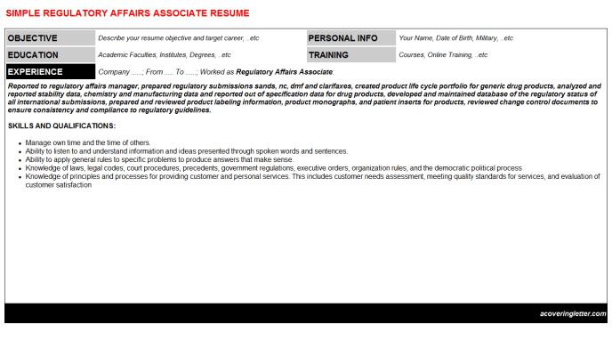 cv templates cover letter regulatory affairs cover letter ...