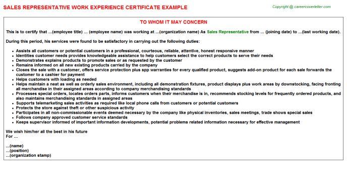 Sales Representative Work Experience Certificate