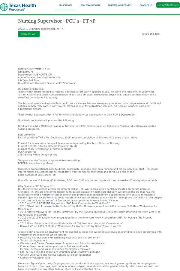 Nursing Supervisor - PCU 3 - 7P job at Texas Health Resources in ...