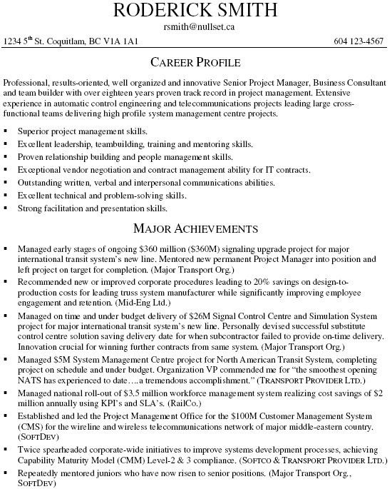 Senior Project Manager Resume - Resume Example