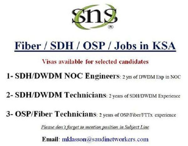DWDM/SDH/OSP/FTTX Jobs in KSA | Telecom Workers