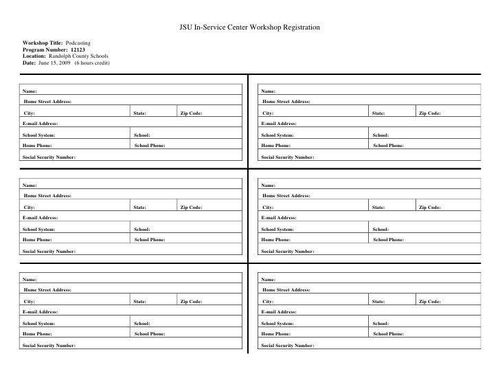 Workshop Registration Form Blank