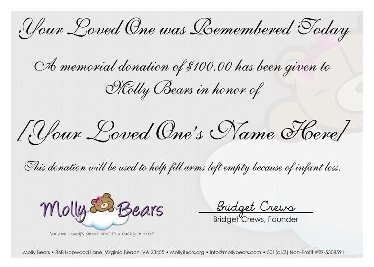 Molly Bears - Certificates In Honor & In Memory of lost loved ones