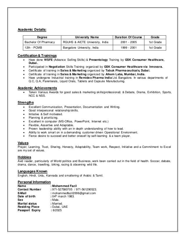 Md.Fazil Resume for the Position of Medical Rep...