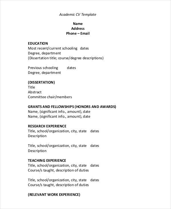 Academic Cv Template. Best Photos Of Academic Cv Template Academic ...