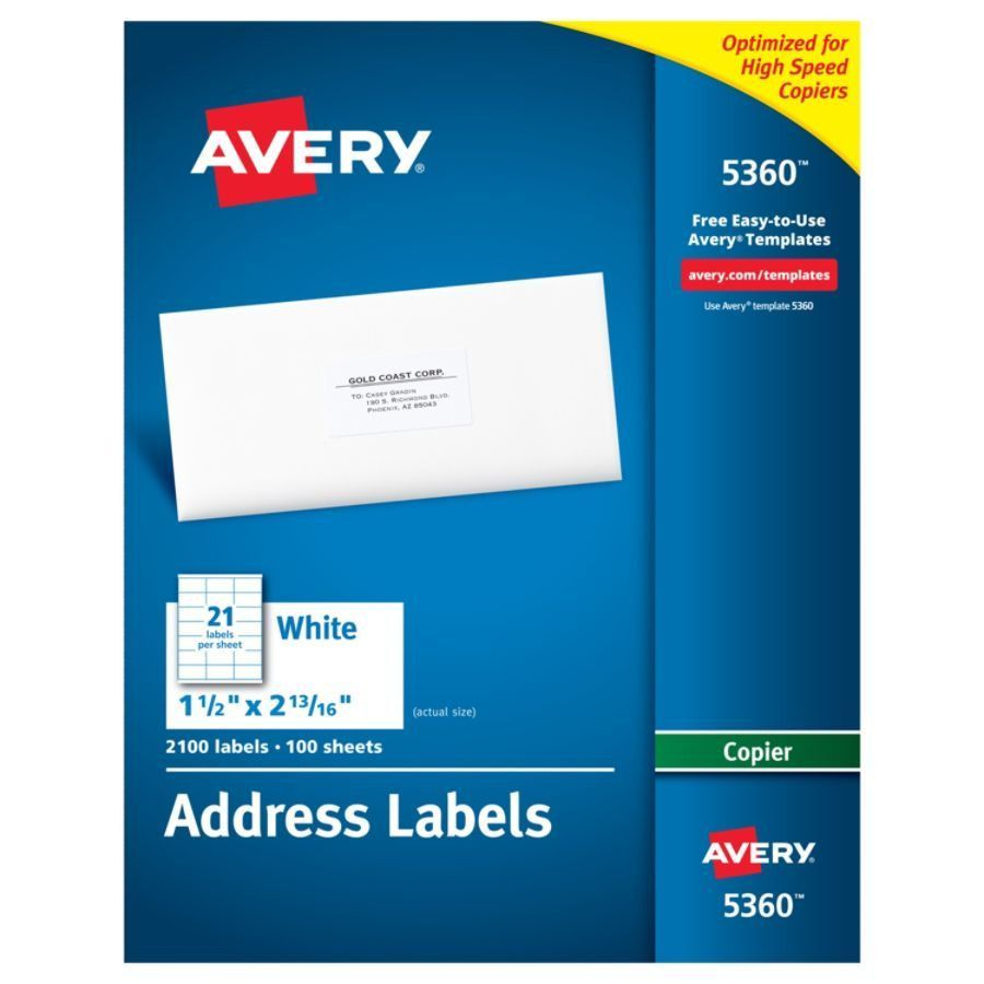 Avery White Copier Address Labels 1 12 x 2 1316 Box Of 2100 by ...