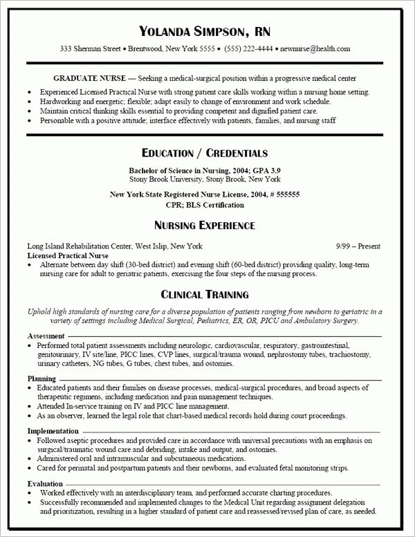 resume examples resume template for nursing new grad resume ...