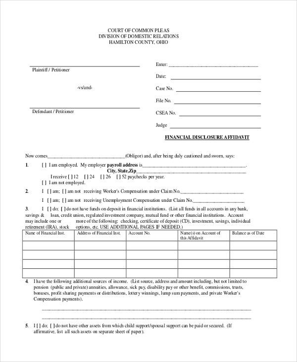 Sample Financial Affidavit Form - 8+ Free Documents in PDF