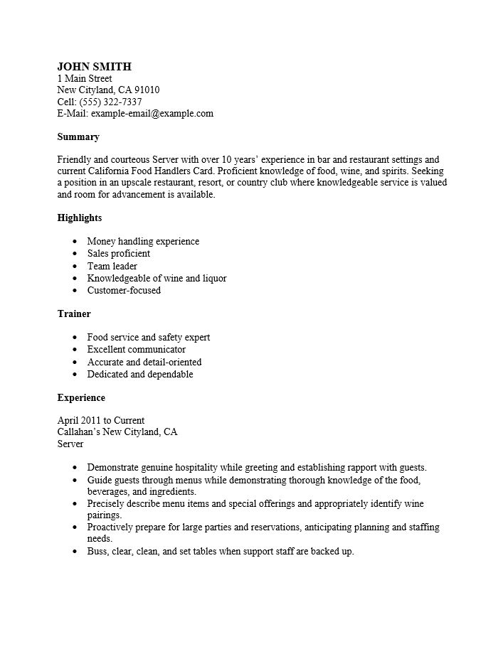 Free Restaurant Server Resume Template | Sample | MS Word