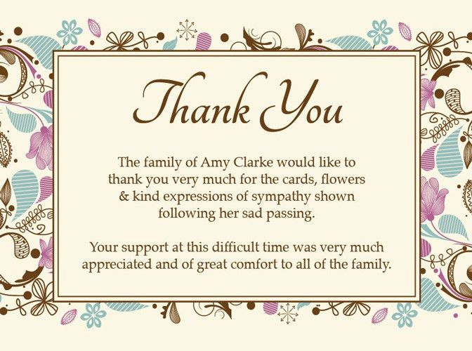 Sample Funeral Thank You Cards …   Pinteres…