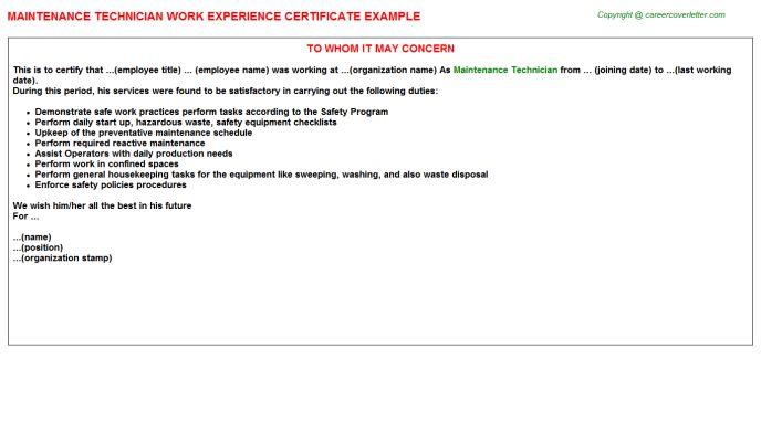 Maintenance Technician Work Experience Certificate
