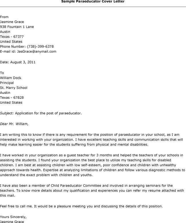 Paraeducator Cover Letter Examples - http://www.resumecareer.info ...