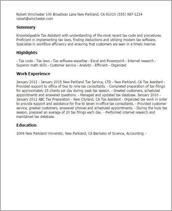 Professional Tax Assistant Templates to Showcase Your Talent ...
