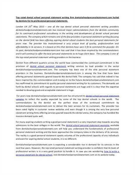 Medical School Personal Statement. Sample Personal Statements ...