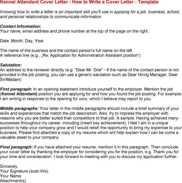 Kennel Assistant Cover Letter Worker Example