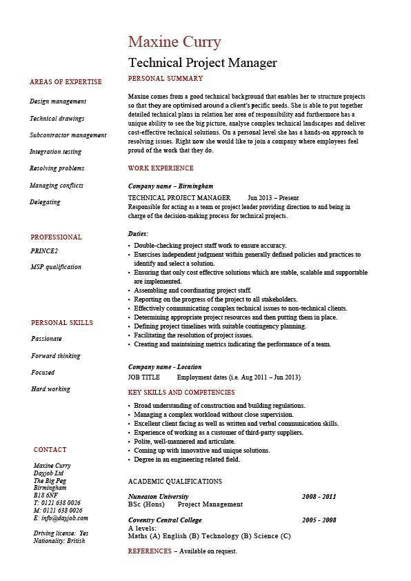 Technical project manager resume, example, job description, skill ...