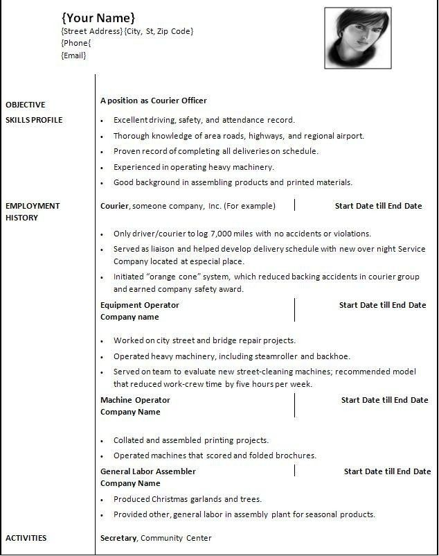 resume word format formats of resume teaching resume format sample ...
