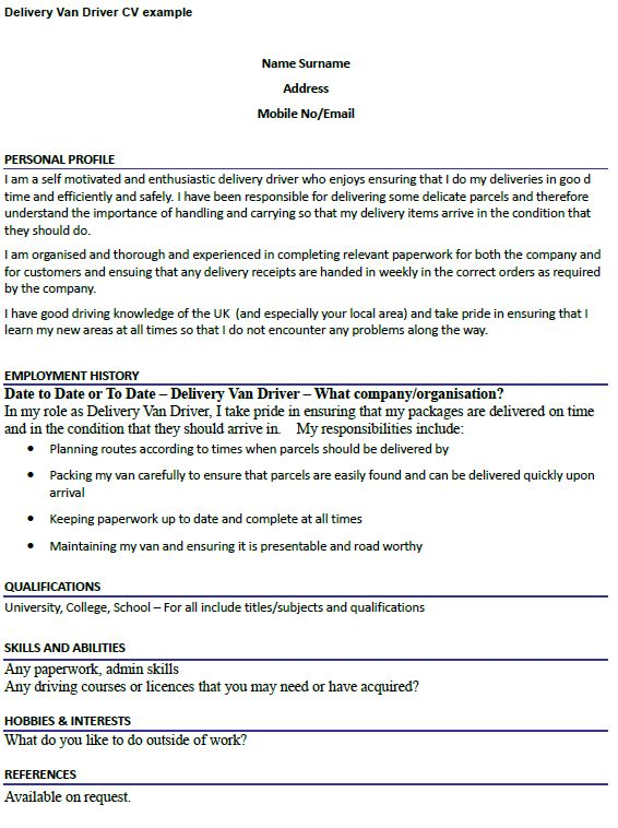 Delivery Van Driver CV Example - icover.org.uk
