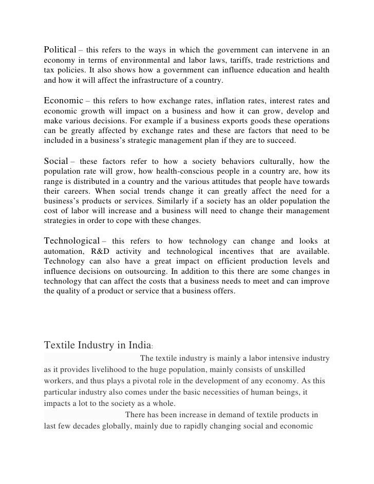 Pest analysis of textile industry