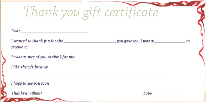 Thank You Ribbon Gift Certificate Template