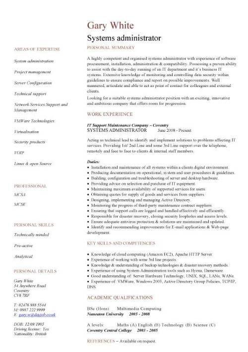 System Administrator Resume Sample | jennywashere.com