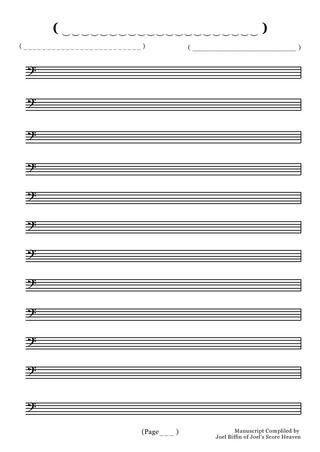 Blank Bass Manuscript Paper by Joel's Score Heaven - issuu
