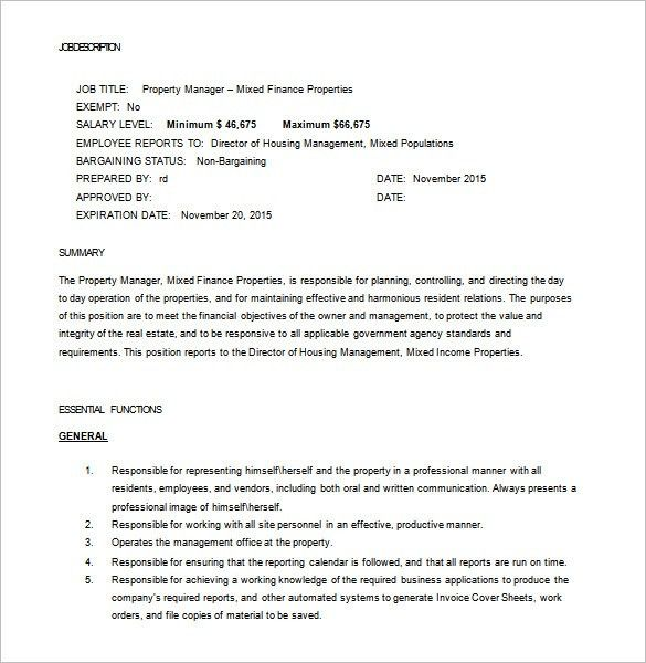 Property Manager Job Description Template – 9+ Free Word, PDF ...