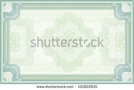 Green Guilloche Certificate Diploma Banknote Background Stock ...