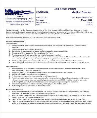 Medical Director Job Descriptions. Regestired Medical Assistant ...