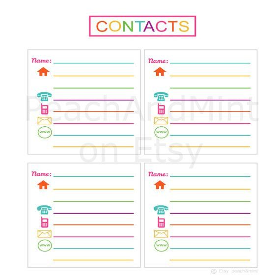 Items similar to Printable Contacts List - printable address book ...