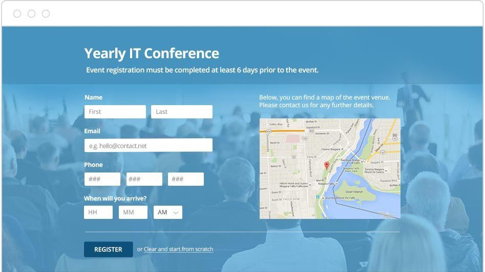 Create Free Online Event Registration Forms | 123ContactForm