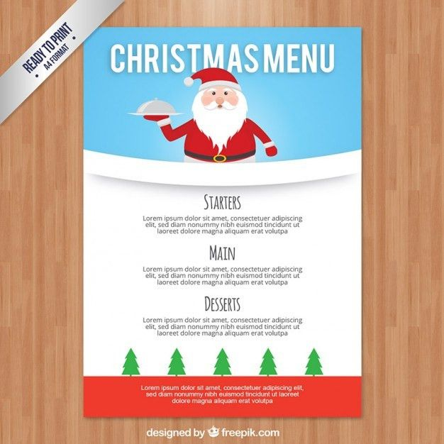 Christmas menu template with santa claus Vector | Premium Download
