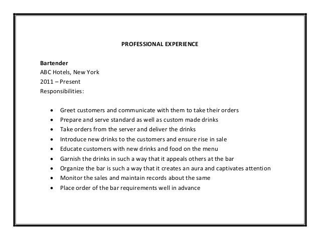 Bartender Resume Format. Bartending Resume With No Experience ...