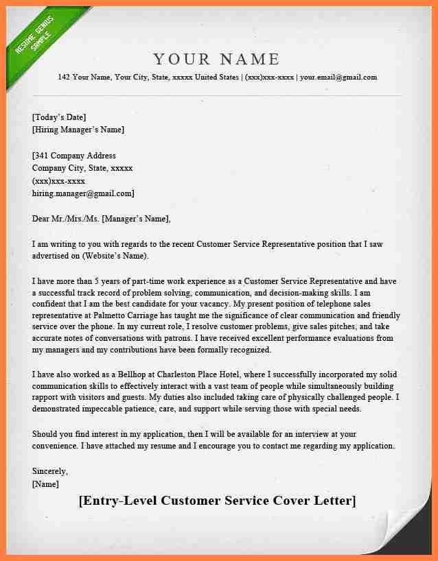 6+ entry level customer service cover letter examples   Life ...