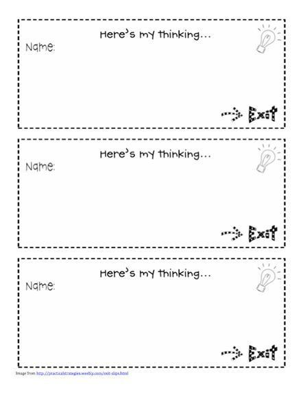 109 best Entry & Exit Slips images on Pinterest | Teaching ideas ...