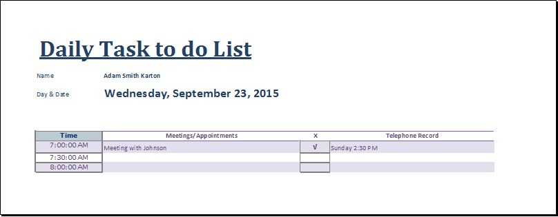 MS Excel Daily Task to do List Template | Document Templates