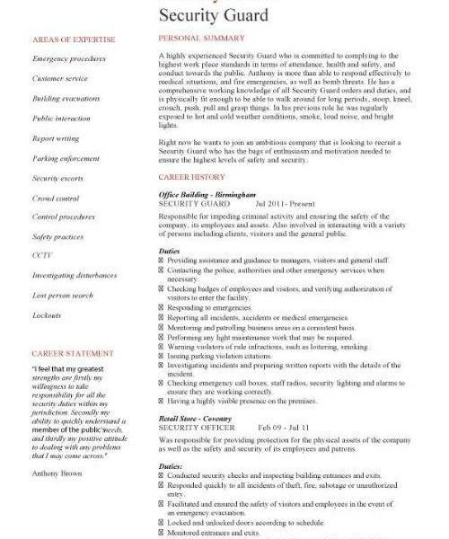 Strikingly Design Ideas Security Supervisor Resume 8 Security ...