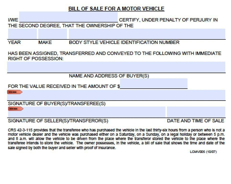 Bill Of Sale Template Colorado | Template Design