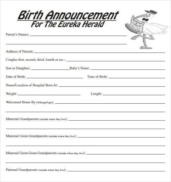 Sample Birth Announcement - 7+ Documents in PDF