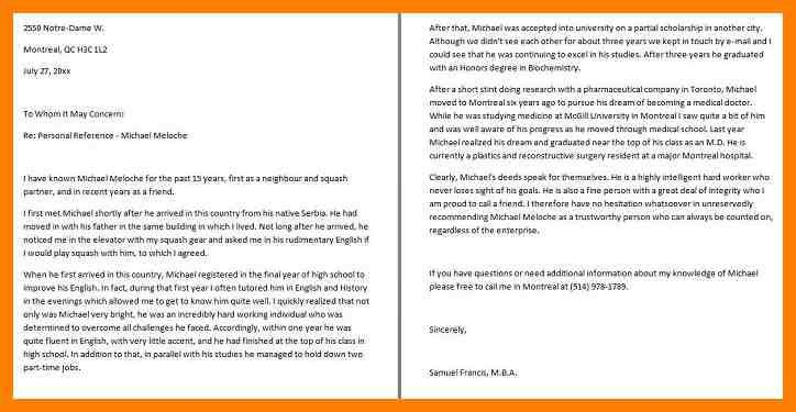 Personal Reference Letter. Character Reference Letter For ...