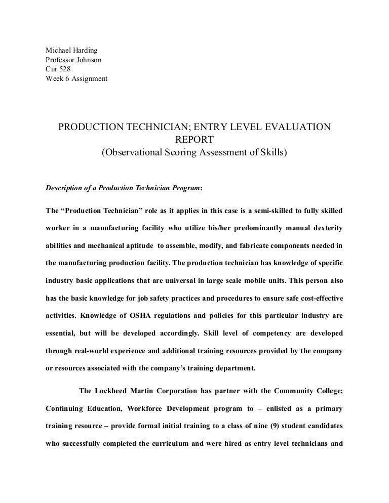 Prod. tech. eval. part two