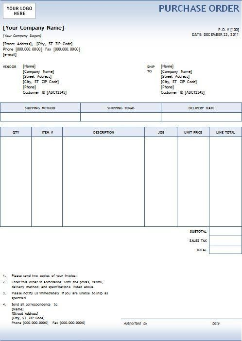 New Blank Purchase Order | Printable Paper Invoices