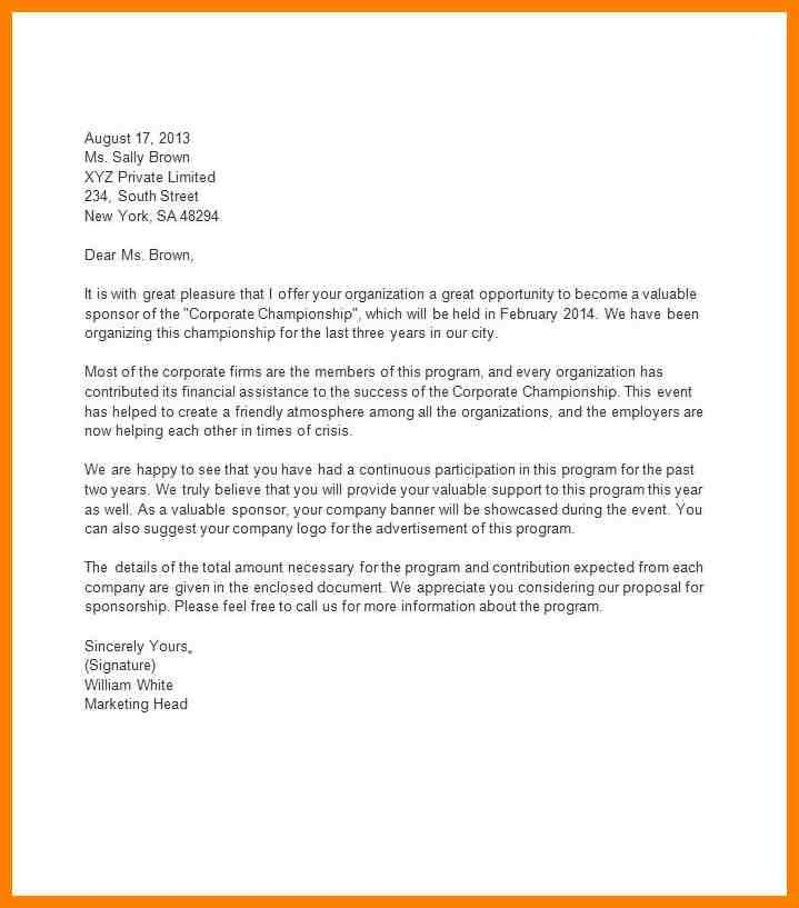 Amazing Sponsorship Proposal Cover Letter Pictures - Best Resume ...