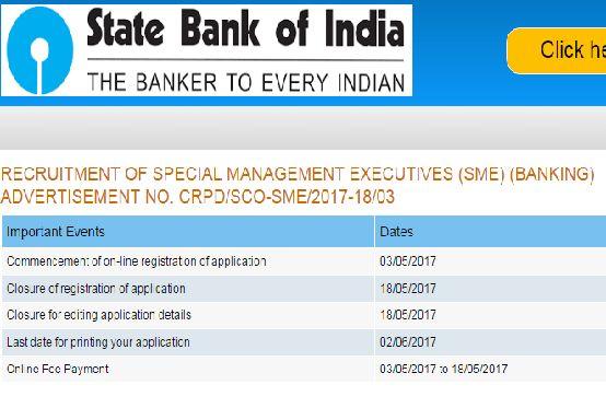 SBI SME Recruitment Notification 2017 Special Management Executive ...