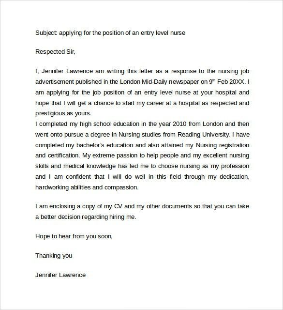 Sample Nursing Cover Letter Example - 10 + Download Free Documents ...