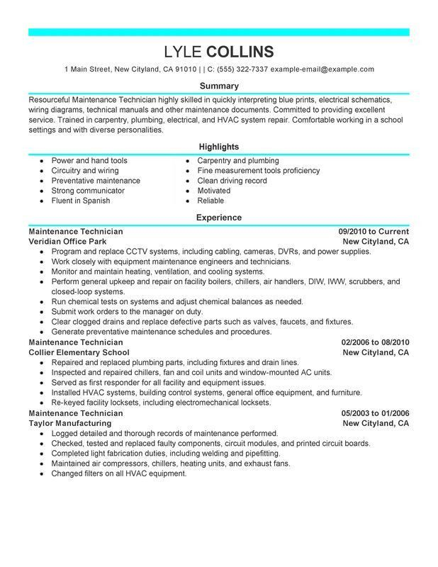 Download Maintenance Resume | haadyaooverbayresort.com