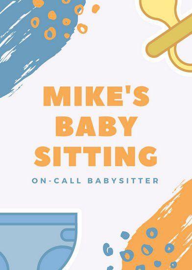 Orange and Blue Brush Strokes and Baby Icons Male Babysitting ...