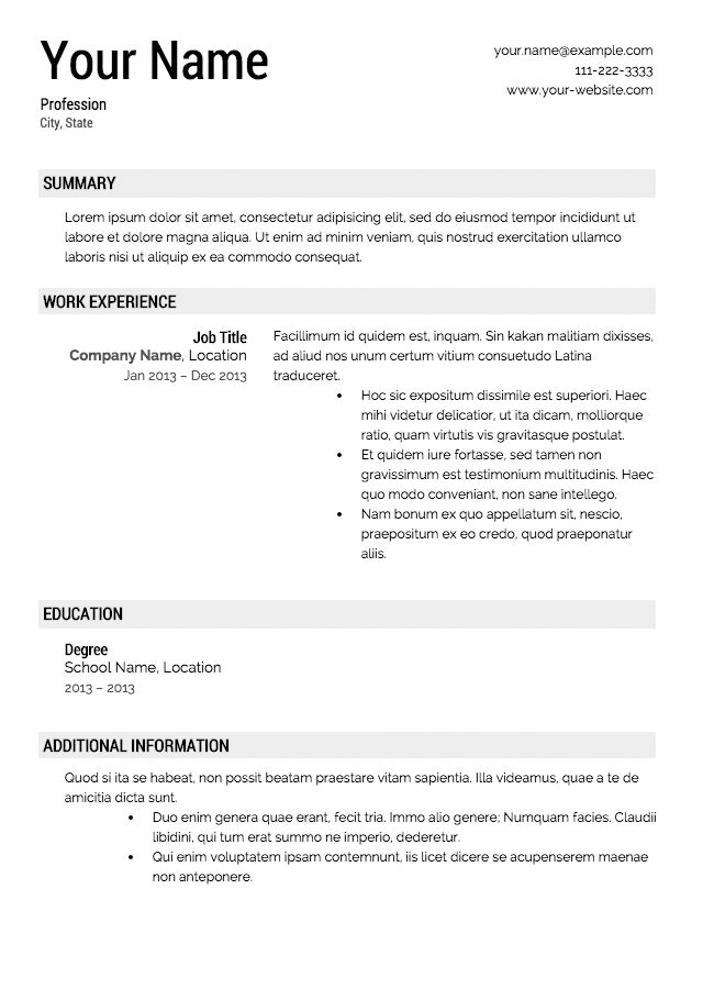 Download Resume Template | haadyaooverbayresort.com